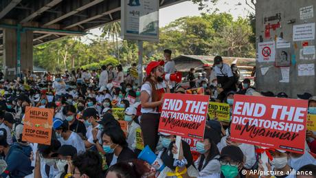 Protesters returned to the streets in Yangon on Tuesday