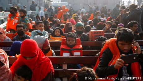 Rohingya refugees on a boat to Bhasan Char in Demember