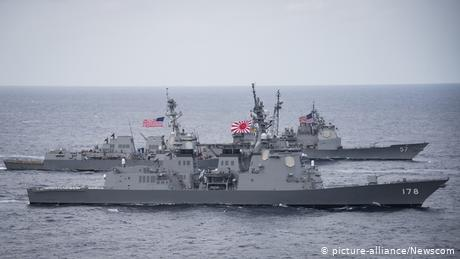 The Japan Maritime Self-Defense Force destroyer JS Ashigara, foreground, the Arleigh Burke-class guided-missile destroyer USS Wayne E. Meyer and the T...