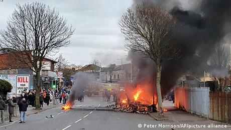 Loyalists hijacked and set the bus on fire as violence continues across Northern Ireland