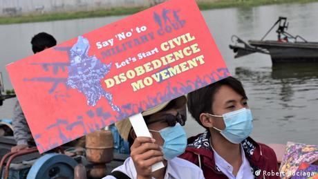 Protesters call for a civil disobedience movement in Myanmar