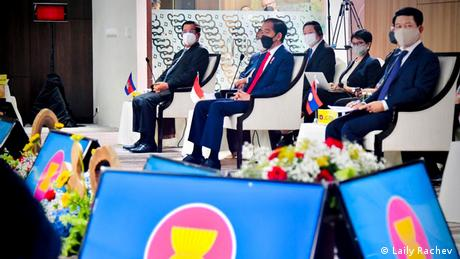 IndonesianPresident Joko Widodo sitting front and center when ASEAN leaders met in Jakarta to discuss the situation in Myanmar.