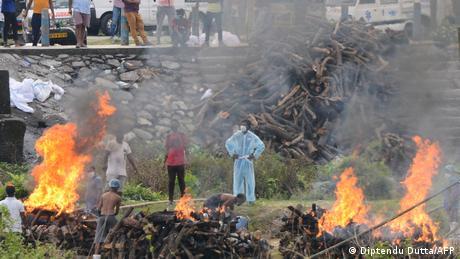 A makeshift crematorium in a rural area in India's West Bengal