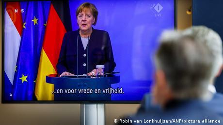 German Chancellor Angela Merkel gave the speech virtually due to the coronavirus pandemic