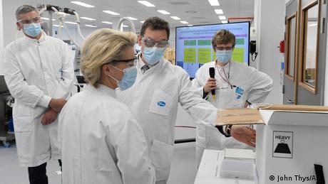 European Commission President Ursula von der Leyen visits a Pfizer factory in Puurs, Belgium