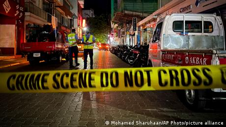 Police cordoned off the area where the former Maldives leader was injured in a bomb blast in Male