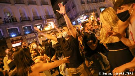 People gathered at Madrid's Puerta del Sol square for celebrations