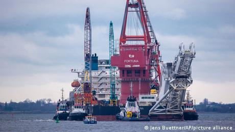 """The Russian """"Fortuna"""" ship is being used to help construct the pipeline"""