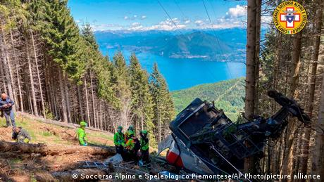 The cable car collapsed near the summit of the Stresa-Mottarone line in the Piedmont region, northern Italy