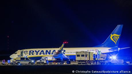 German federal police arrived to search the Ryanair flight late on Sunday in Berlin