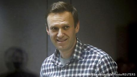Russian opposition politician Alexei Navalny attends a court hearing in Moscow in February