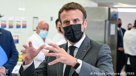 Macron speaking during his visit to a hospitality school in Tain l'Hermitage