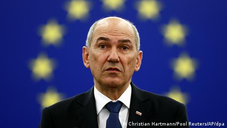 Slovenian Prime Minister Jansa at the plenary session of the European Parliament in Strasbourg (6.07.2021)