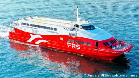 The fast ferry ran aground late Saturday evening
