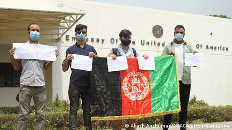 Afghan students in Delhi protest outside the US embassy