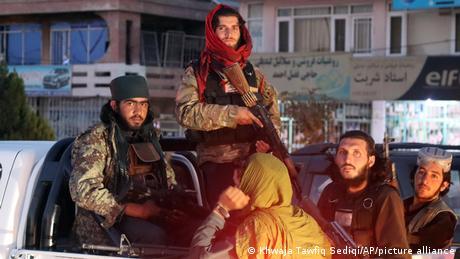 Taliban fighters patrol in Kabul