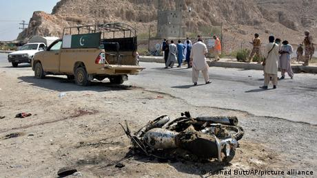 Security forces examined the site of the suicide attack on Sunday