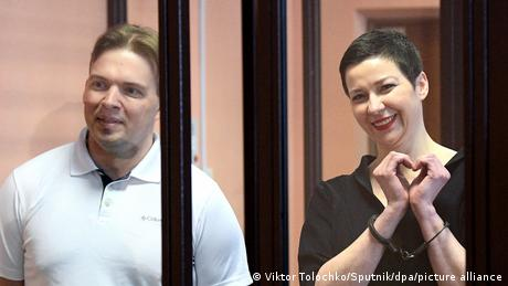 Germany and the EU have condemned the sentence handed down to Maxim Znak (L) and Maria Kolesnikova