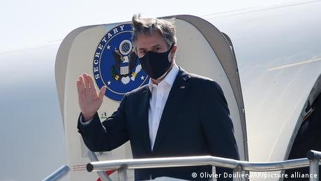 Blinken flew out of Qatar, another transit hub for Afghan evacuees, to tour the US base in Ramstein