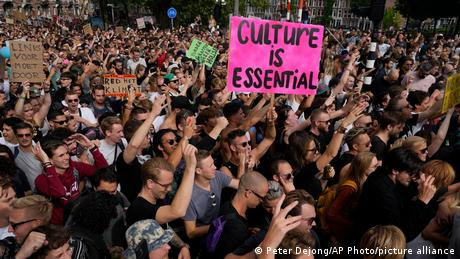 The protesters believe the restrictions on nightlife and festivals are unfair