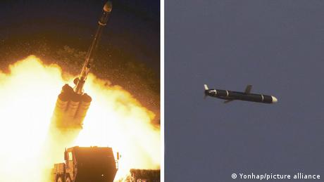 This combined photo, released by state media shows a long-range cruise missile being fired from a launcher and flying in the sky