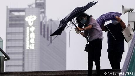 Typhoon Chanthu has stopped short of Shanghai and is lingering 225 kilometers (140 miles) east of the city