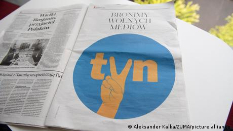 A full page ad in support of the independent broadcaster TVN in the Polish daily newspaper Gazeta Wyborcza in August