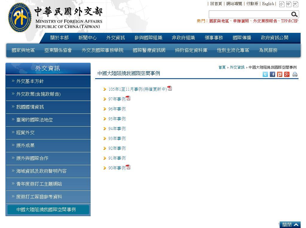 Taiwan starts running list of instances China    | Taiwan News