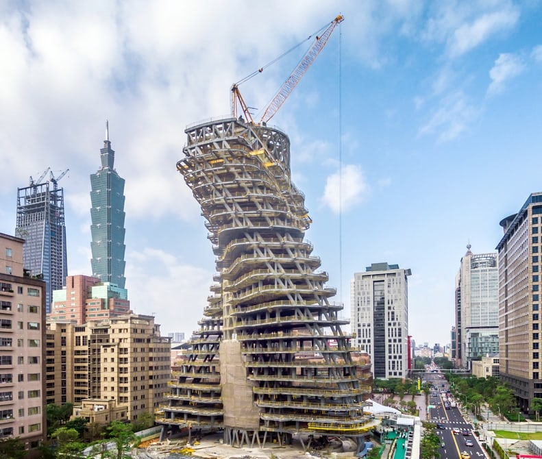 Construction of Agora Garden Tower in Taipei. (Courtesy of Vincent Callebaut Architectures)