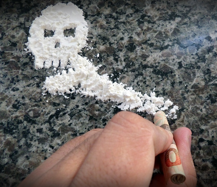 Cocaine in shape of skull (Photo by sammisreachers at Pixabay.