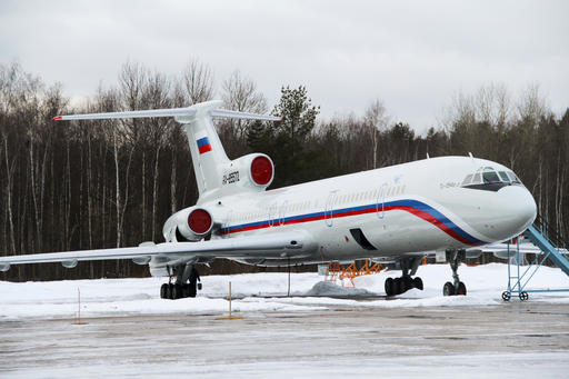 Photo taken on Thursday, Jan. 15, 2015 shows the Tu-154 plane with registration number RA-85572 at Chkalovsky military airport near Moscow, Russia