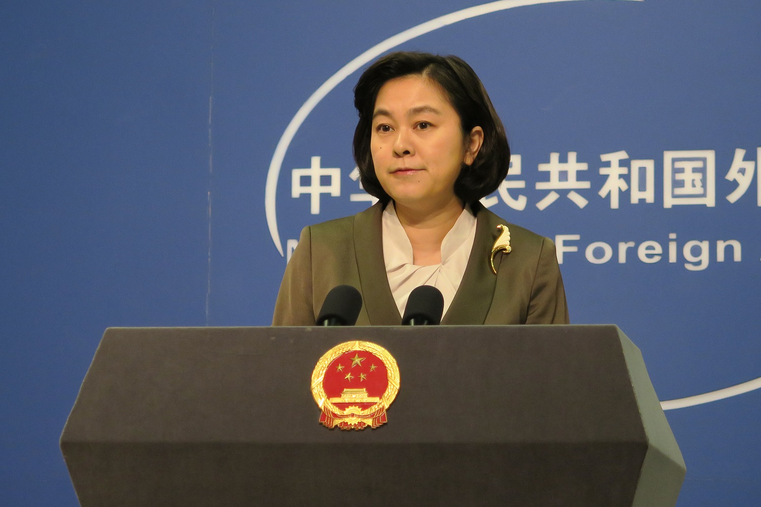 Chinese Foreign Ministry Spokeswoman Hua Chunying at press briefing.
