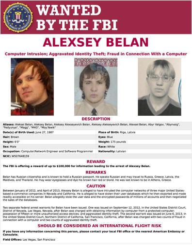 FBI wanted poster for Alexsey Belan