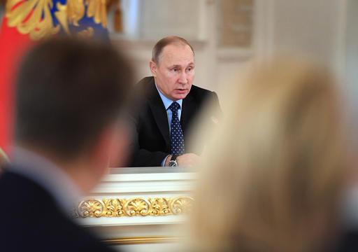 圖為普丁週二在主持國政委員會照片。(圖片來源:Associated Press)
