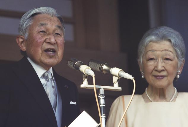 日本明仁天皇與皇后美智子。圖片來源:Associated Press
