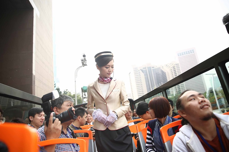 Taipei City on Wednesday launched Wi-Fi enabled double-decker tour buses, which enable passengers to listen to audio guide at different points along t...