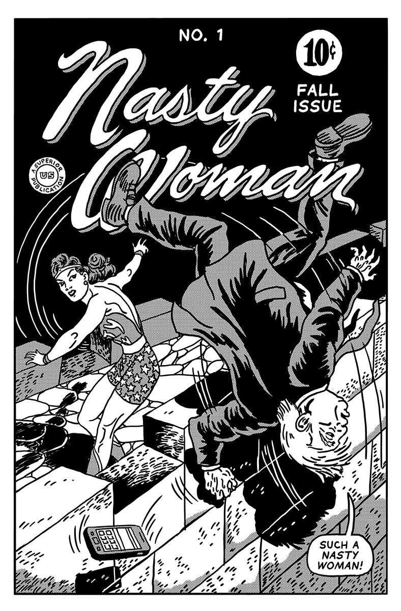 紐約插畫家大搞創意,將川普爭議性的言論繪製成經典漫畫人物。(圖片來源:The Unquotable Trump)
