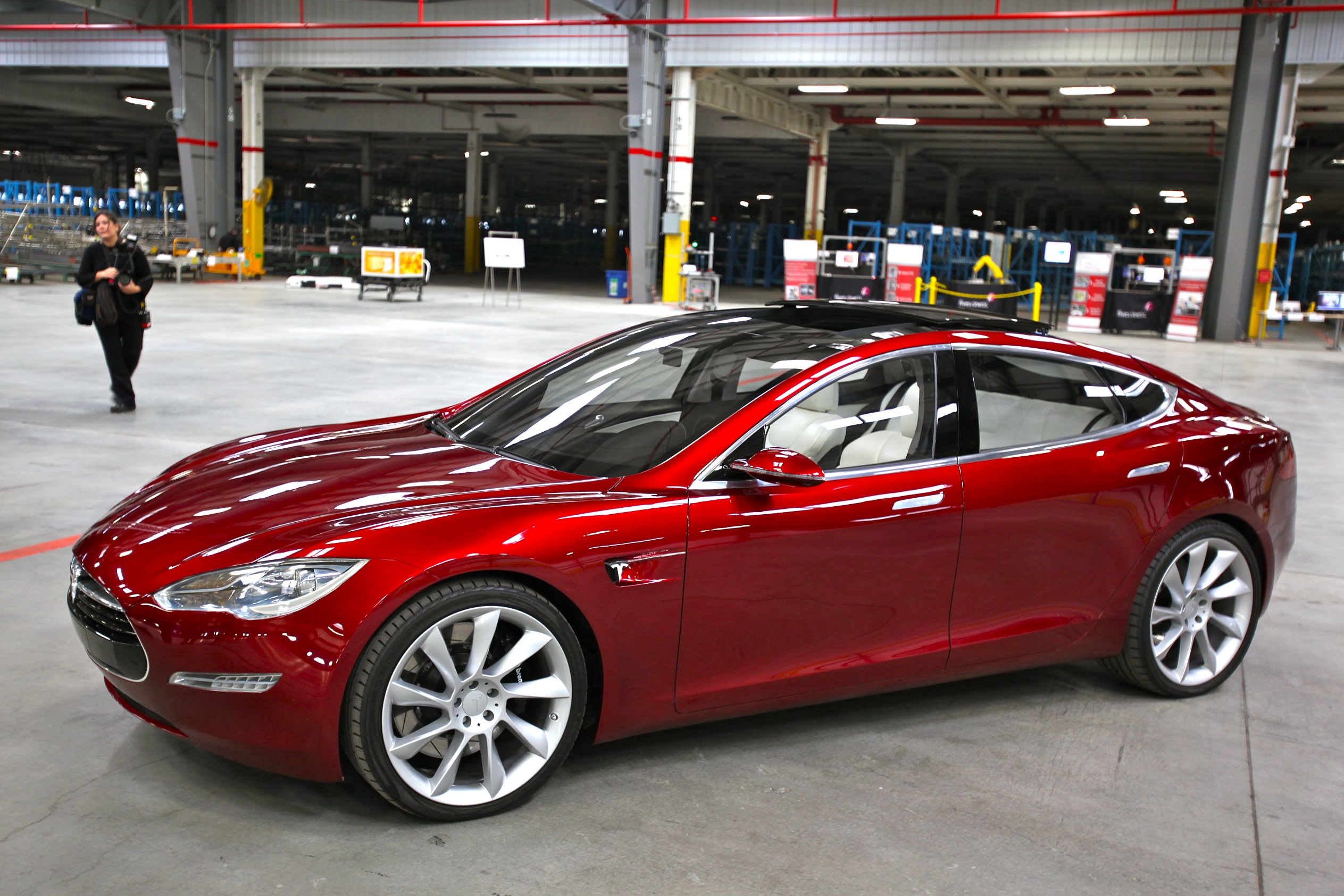 Red Tesla Model S indoors