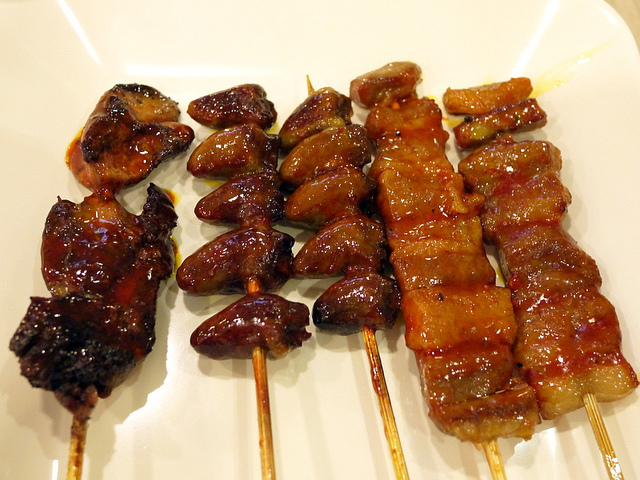 Chicken liver, heart and Pork belly on skewers