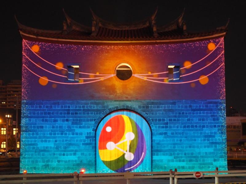 laser light show on Beimen for Taipei Lantern Festival