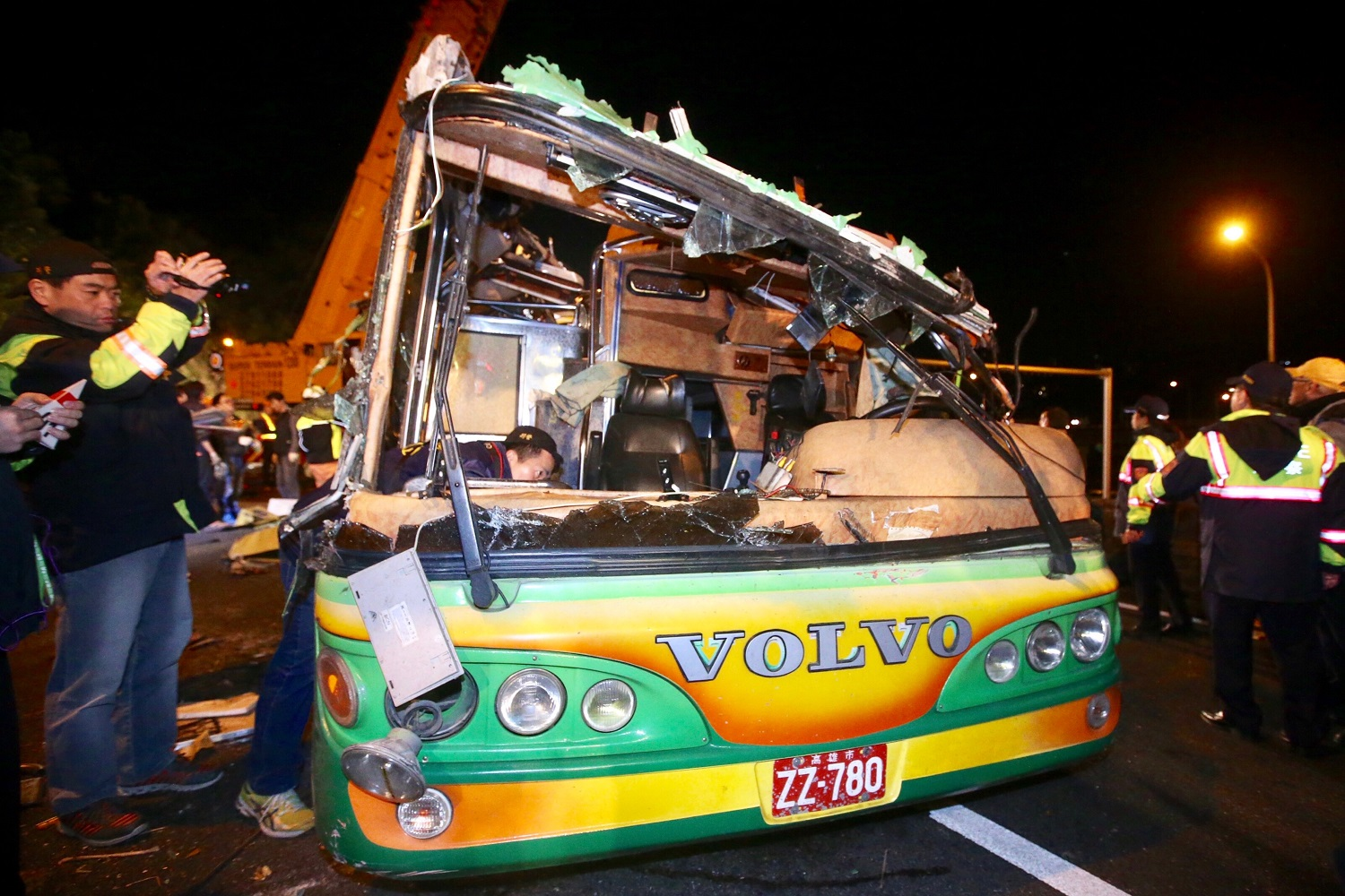 Aftermath of Feb. 14 tour bus crash.