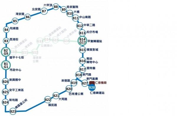 捷運藍線,圖片取自台南市交通局。