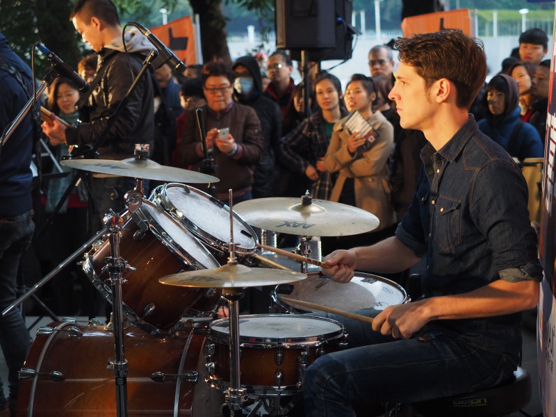 Justin Caleb Cooper plays drums with his band Cloud Atlas