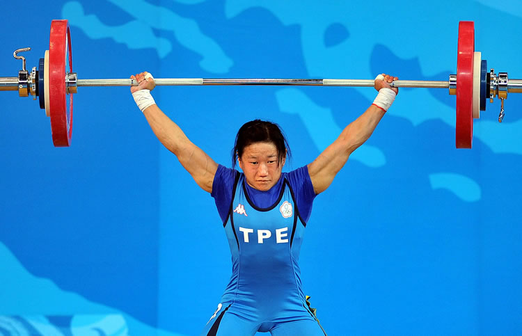 Chen Wei-ling competing in weightlifting at the 2008 Beijing Olympic games.