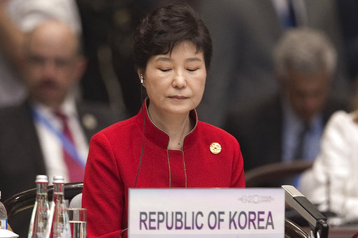 File photo of South Korea's President Park Geun-Hye seated during opening ceremony of G-20 Leaders Summit in Hangzhou, China