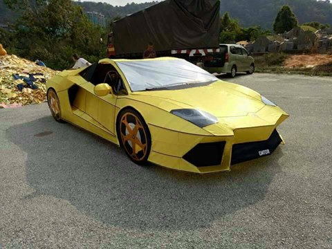 Paper Lamborghini (Photo by 爆料公社 user 翁寬大)