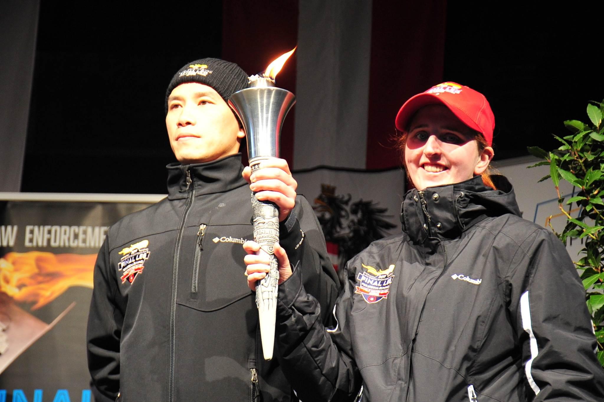 內政部警政署專員林軍廷代表台灣,前往奧地利參加傳遞火炬之盛會。