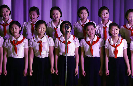 North Korean sing at the Mangyongdae Children's Palace on Friday