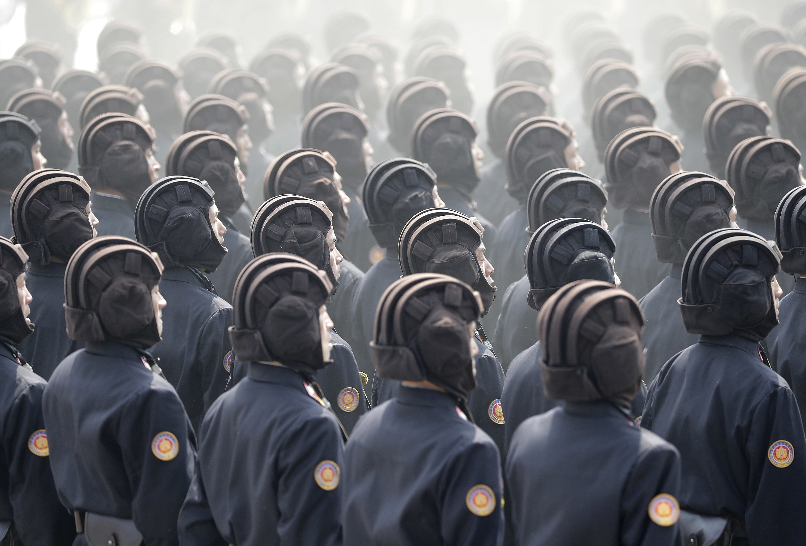 Soldiers march across Kim Il Sung Square during a military parade in Pyongyang, North Korea, to celebrate the 105th birth anniversary of Kim Il Sung, ...