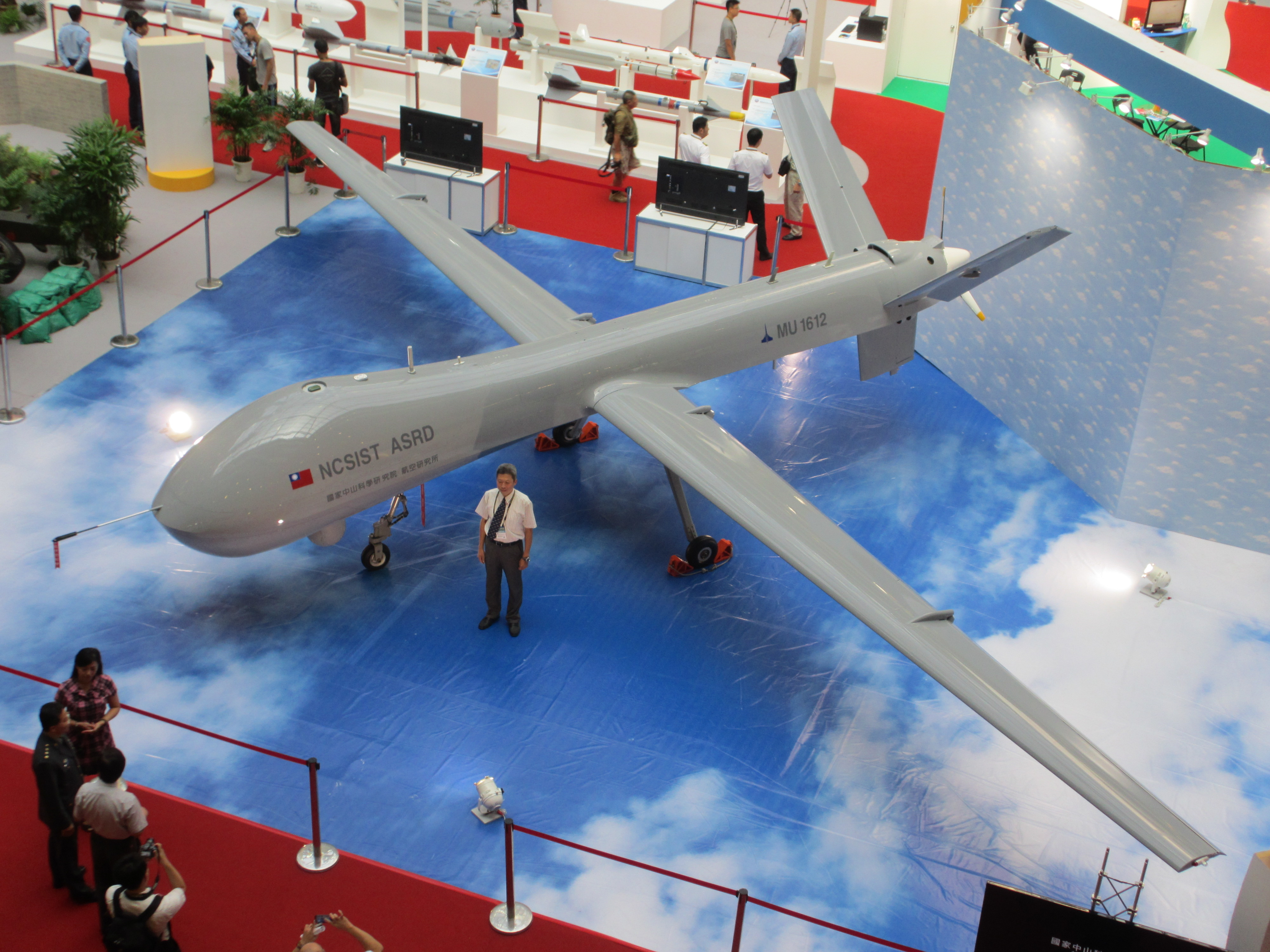 Taiwan's CIST showcases the Tengyun Drone at an oversea show.